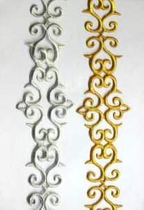 "GB322 Embroidered Trim Silver Scroll Metallic Iron On 2.75"""