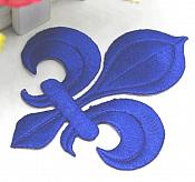 "Fleur De Lis Embroidered Applique Blue Iron On Clothing Patch 4"" GB323"