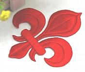 """Fleur De Lis Embroidered Applique Red Iron On Clothing Patch 4"""" GB323"""