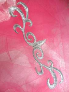 """GB324 Iron On Patch Silver Scroll Metallic Applique 5.5"""""""