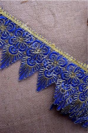 GB326 Wide Blue Gold Metallic Trim Embroidery Scalloped 5""