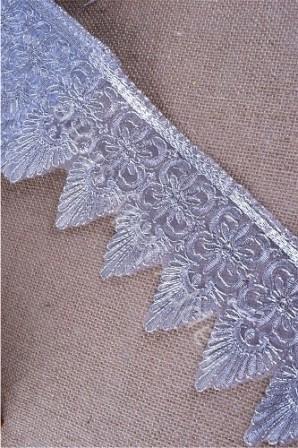 "GB326 Wide Silver Metallic Trim Embroidery Scalloped 5"""
