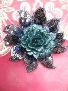 """GB333 Embroidered Metallic Blue Sequin Floral 3D Applique 3"""""""