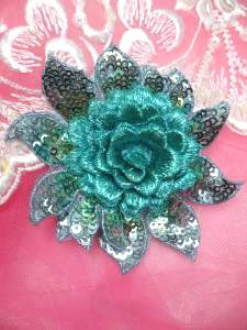 """GB333 Embroidered Metallic Turquoise Sequin Floral 3D Applique 3"""""""