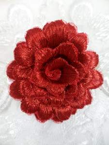 """GB334 Embroidered Metallic Red Floral 3D Applique 2"""""""