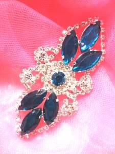 "GB335 Teal Marquise Crystal Rhinestone Applique Embellishment 3.25"""