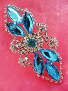"GB335 Aqua Marquise Crystal Rhinestone Applique Embellishment 3.25"""