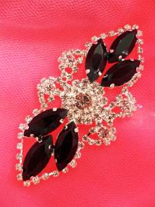 "GB335 Black Marquise Crystal Rhinestone Applique Embellishment 3.25"""