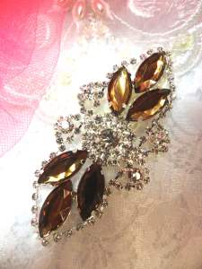 GB335 Brown Marquise Crystal Rhinestone Applique Embellishment 3.25""