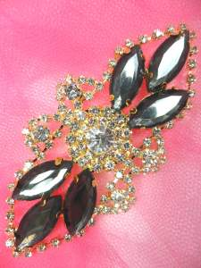 GB335 Charcoal Marquise Rhinestone Applique Gold Embellishment 3.25""