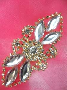 "GB335 Crystal Marquise Rhinestone Applique Gold Embellishment 3.25"""