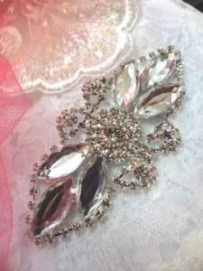 "GB335 Crystal Marquise Rhinestone Applique Embellishment 3.25"""