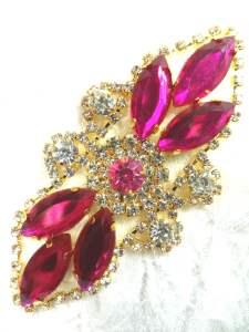 "GB335 Fuchsia Marquise Rhinestone Applique Gold Embellishment 3.25"""