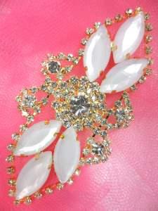 "GB335 Jelly Marquise Rhinestone Applique Gold Embellishment 3.25"""