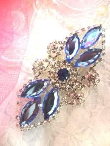 "GB335 Light Blue Marquise Crystal Rhinestone Applique Embellishment 3.25"""