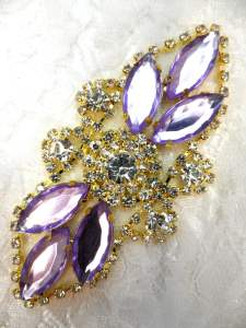 "GB335 Light Lavender Marquise Rhinestone Applique Gold Embellishment 3.25"""