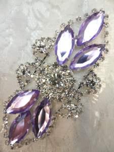 """GB335 Light Lavender Marquise Rhinestone Applique Embellishment 3.25"""""""