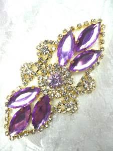 "GB335 Lavender Marquise Rhinestone Applique Gold Embellishment 3.25"""