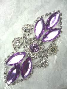 """GB335 Lavender Marquise Rhinestone Applique Embellishment 3.25"""""""