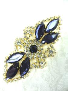 GB335 Navy Blue Marquise Rhinestone Applique Gold Embellishment 3.25""