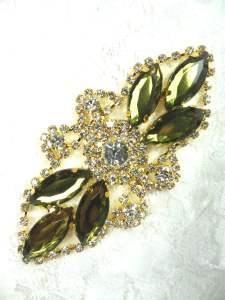 "GB335 Olive Green Marquise Rhinestone Applique Gold Embellishment 3.25"""