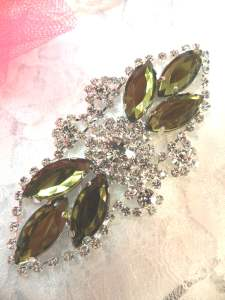 GB335 Olive Green Marquise Crystal Rhinestone Applique Embellishment 3.25""