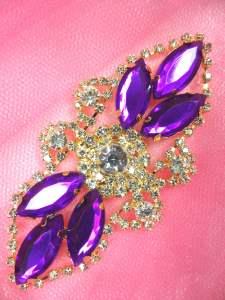 "GB335 Purple Marquise Rhinestone Applique Gold Embellishment 3.25"""