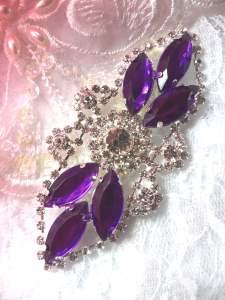 "GB335 Purple Marquise Crystal Rhinestone Applique Embellishment 3.25"""