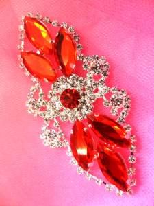 "GB335 Red Marquise Crystal Rhinestone Applique Embellishment 3.25"""
