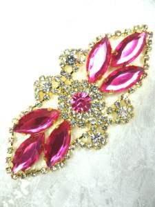 "GB335 Shocking Pink Marquise Rhinestone Applique Gold Embellishment 3.25"""