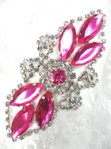 "GB335 Shocking Pink Marquise Rhinestone Applique Embellishment 3.25"""