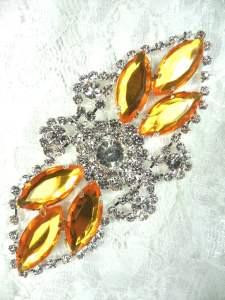 "GB335 Yellow Marquise Rhinestone Applique Embellishment 3.25"""