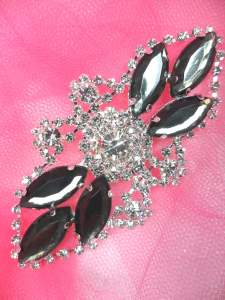GB335 Charcoal Marquise Rhinestone Applique Embellishment 3.25""