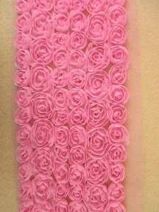 "GB338 Dark Pink Lace Wedding Bridal Floral Sewing Trim 3.5"""
