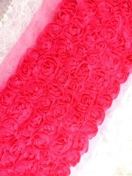 GB338 Wedding Bridal Floral Fuchsia Sewing Trim 3.5""