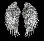 Silver Wings Sequin Appliques Black Backing Mirror Pair Motifs Iron on Patch 13 inches GB339X