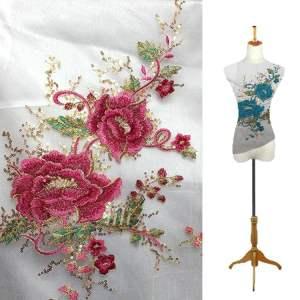"""GB340 Mauve Gold Floral Applique Sequin Flower Patch 17.5"""""""