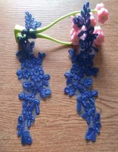 """GB341 Blue Floral Venise Lace Mirror Pair Appliques 9.5"""""""