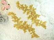 """Embroidered Venice Lace Gold Floral Venise Lace Mirror Pair Appliques 9.5"""" (GB341X)"""