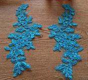 "One Side Turquoise Floral Venise Lace Mirror Pair Appliques 9.5"" (OSGB341)"