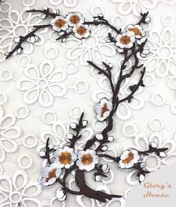 "GB342 Beige Embroidered Floral Applique 15"""