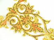 """GB345 Bright Gold Orange Bodice Yoke Embroidered Sequin Applique Motif 9.75"""""""
