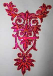 """GB345 Fuchsia Orange Gold Bodice Yoke Embroidered Sequin Applique Motif 9.75"""""""