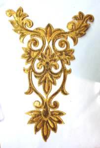 GB345 Gold Bodice Yoke Embroidered Sequin Applique Motif 9.75""