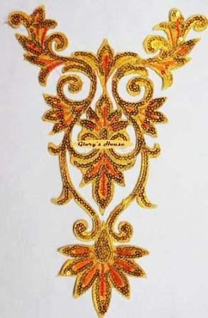 "GB345 Gold Orange Bodice Yoke Embroidered Sequin Applique Motif 9.75"""