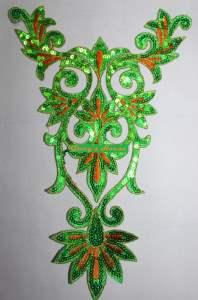 "GB345 Green Orange Gold Bodice Yoke Embroidered Sequin Applique Motif 9.75"""
