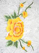 GB346 Floral Yellow Orange Embroidered Flower Applique Iron On Patch 5.5""