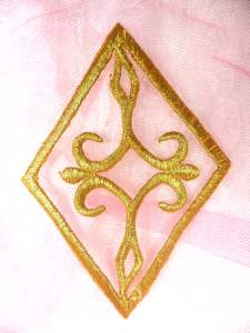 GB348 Gold Metallic Embroidered Applique Iron On Patch 4.25""