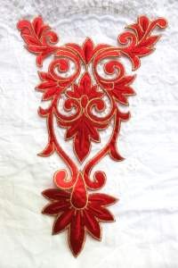 GB349 Red Gold Bodice Yoke Embroidered Applique Floral Motif 10""