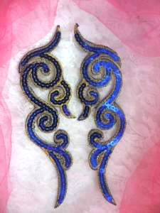 GB350 Sequin Appliques Blue Gold Designer MIRROR PAIR  7""